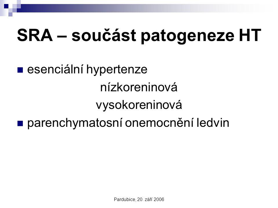Pardubice, 20. září 2006 SRA – součást patogeneze HT esenciální hypertenze nízkoreninová vysokoreninová parenchymatosní onemocnění ledvin