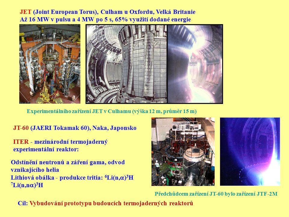 JET (Joint European Torus), Culham u Oxfordu, Velká Britanie Až 16 MW v pulsu a 4 MW po 5 s, 65% využití dodané energie Experimentálního zařízení JET