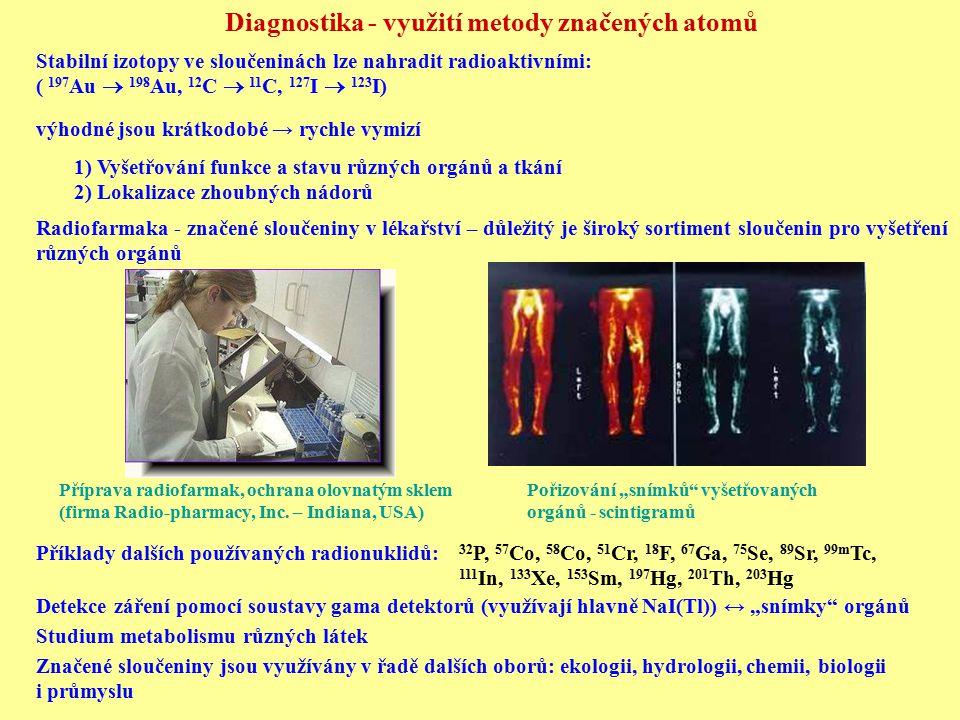 Diagnostika - využití metody značených atomů Stabilní izotopy ve sloučeninách lze nahradit radioaktivními: ( 197 Au  198 Au, 12 C  11 C, 127 I  123