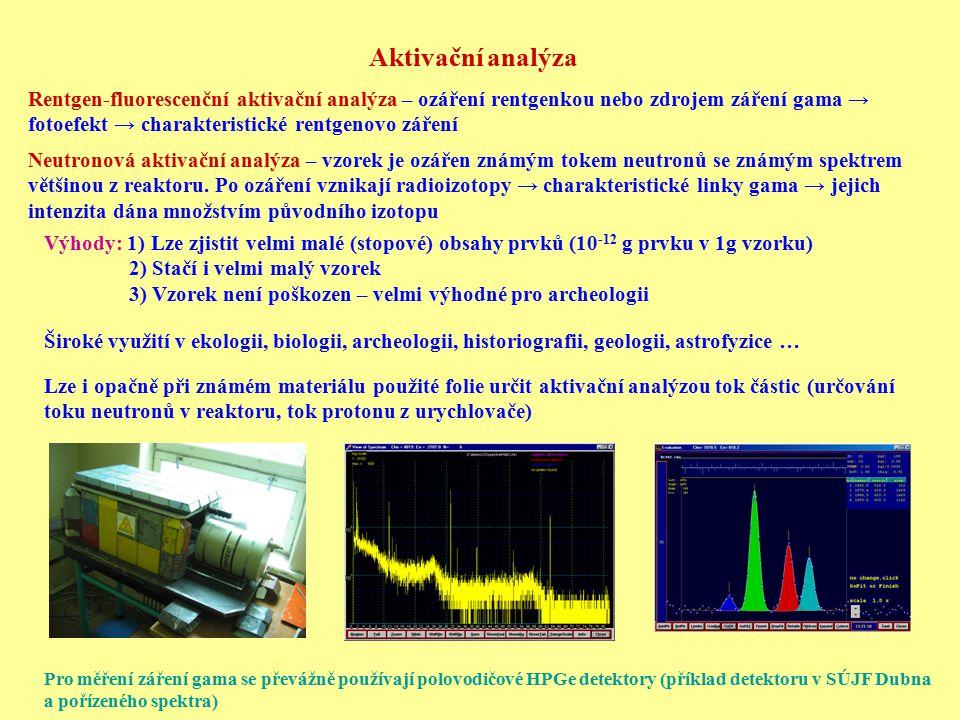 Aktivační analýza Rentgen-fluorescenční aktivační analýza – ozáření rentgenkou nebo zdrojem záření gama → fotoefekt → charakteristické rentgenovo záře