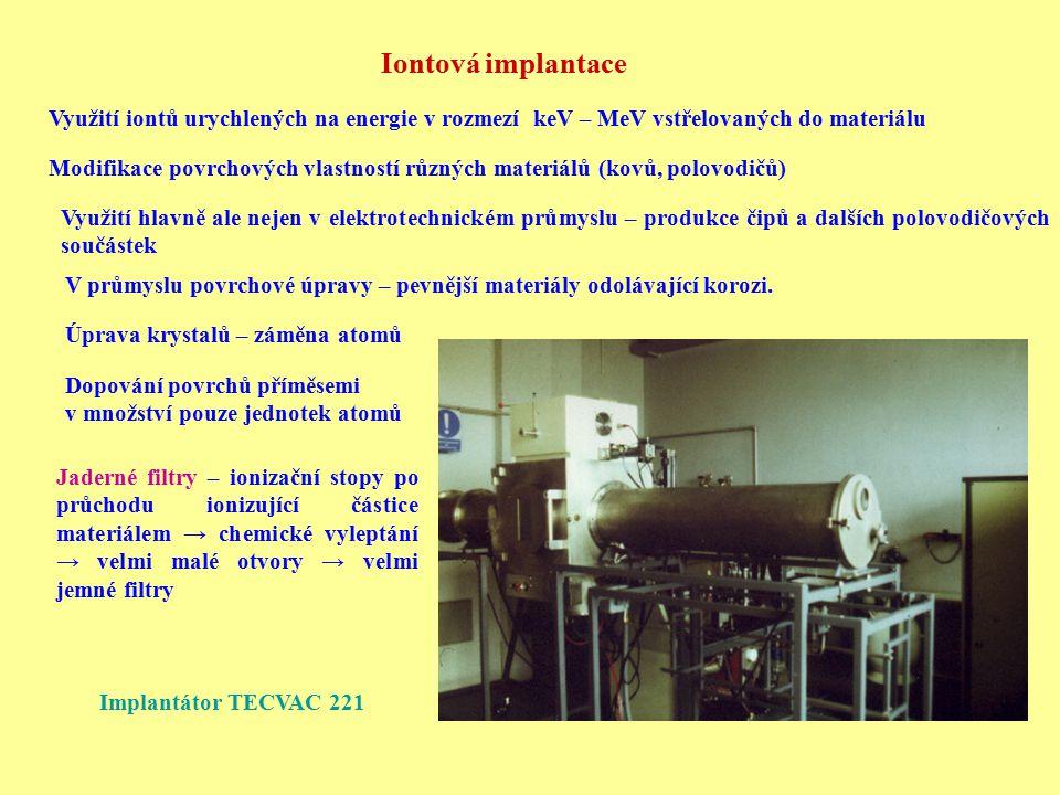 Iontová implantace Využití iontů urychlených na energie v rozmezí keV – MeV vstřelovaných do materiálu Modifikace povrchových vlastností různých mater