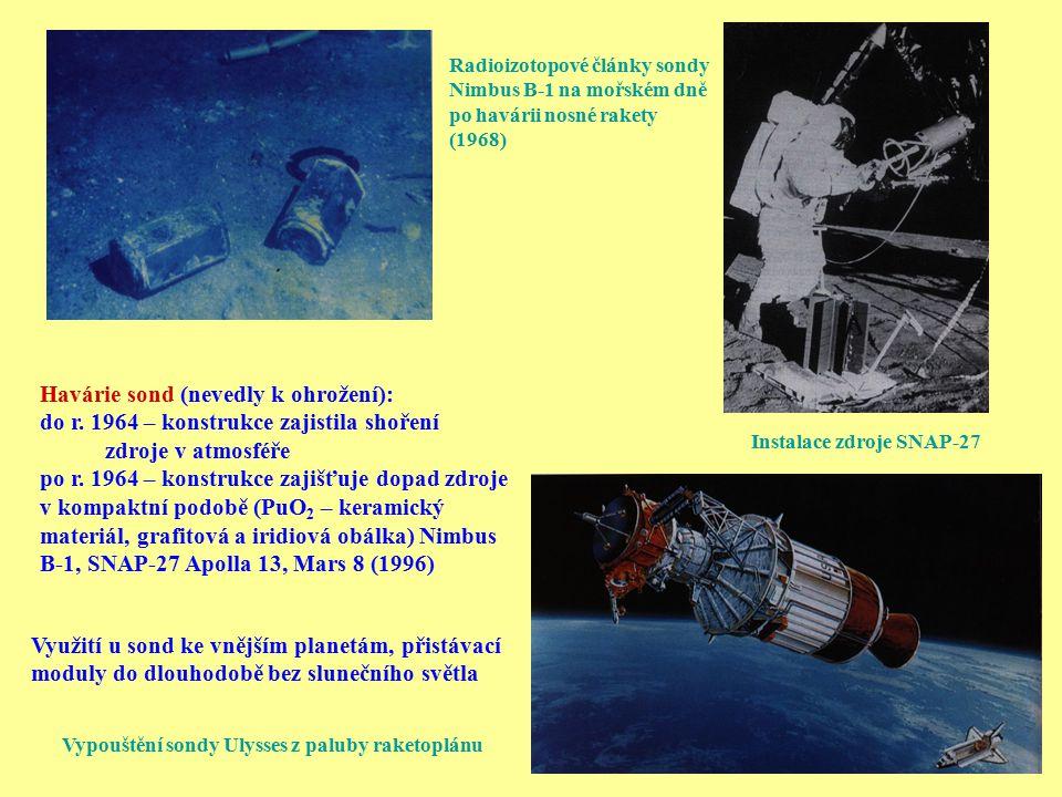 Radioizotopové články sondy Nimbus B-1 na mořském dně po havárii nosné rakety (1968) Instalace zdroje SNAP-27 Využití u sond ke vnějším planetám, přis