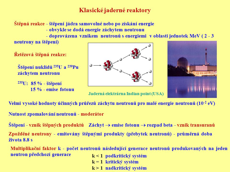 Regulace reaktoru: Kompenzační tyče - jejich postupným vytahováním se kompenzuje zhoršování neutronové bilance v průběhu provozu Řídící tyče - regulace okamžitých změn výkonu Havarijní tyče - rychlé zastavení reaktoru Palivo: 1) přírodní uran - složen z 238 U a jen 0.72 % 235 U 2) obohacený uran - zvýšení obsahu 235 U na 3-4% (klas.re.) většinou ve formě UO 2 Elektrárna Diablo Canyon USA Jaderný reaktorVnitřek reaktoru při výměně paliva 438 energetických reaktorů, výkon 353 GW e → produkce 16 % elektřiny celková provozní zkušenost: > 10 000 reaktorroků V roce 2001 (podle MAAE): Důležitý odvod tepla (voda)