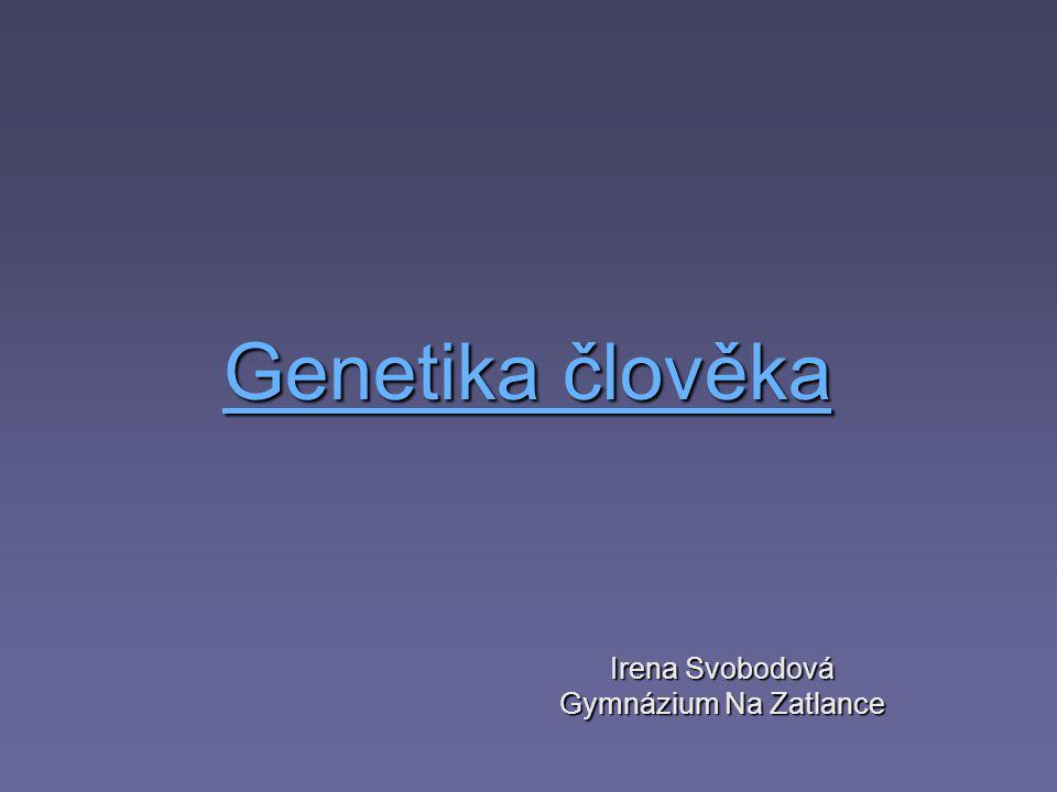 Genetika člověka Genetika člověka Irena Svobodová Gymnázium Na Zatlance