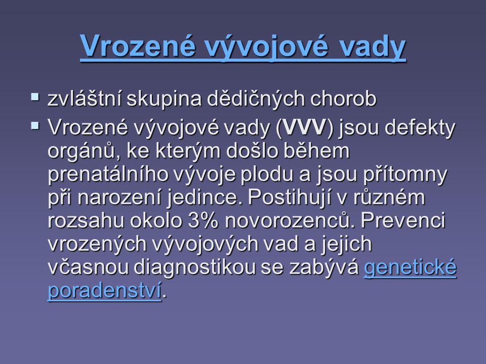 Vrozené vývojové vady Vrozené vývojové vady  zvláštní skupina dědičných chorob  Vrozené vývojové vady (VVV) jsou defekty orgánů, ke kterým došlo běh