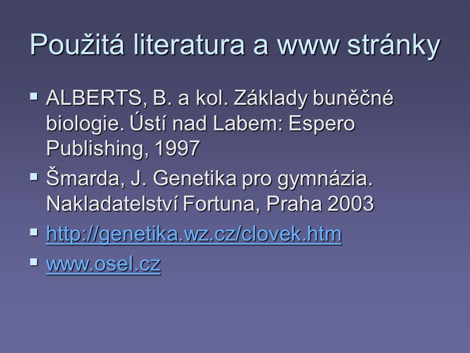 Použitá literatura a www stránky  ALBERTS, B. a kol. Základy buněčné biologie. Ústí nad Labem: Espero Publishing, 1997  Šmarda, J. Genetika pro gymn