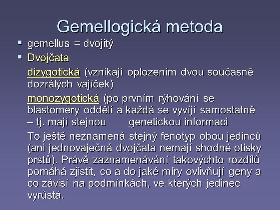 Gemellogická metoda  gemellus = dvojitý  Dvojčata dizygotická (vznikají oplozením dvou současně dozrálých vajíček) monozygotická (po prvním rýhování