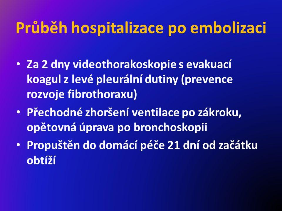 Průběh hospitalizace po embolizaci Za 2 dny videothorakoskopie s evakuací koagul z levé pleurální dutiny (prevence rozvoje fibrothoraxu) Přechodné zhoršení ventilace po zákroku, opětovná úprava po bronchoskopii Propuštěn do domácí péče 21 dní od začátku obtíží