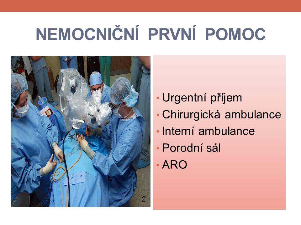 NEMOCNIČNÍ PRVNÍ POMOC Urgentní příjem Chirurgická ambulance Interní ambulance Porodní sál ARO 2