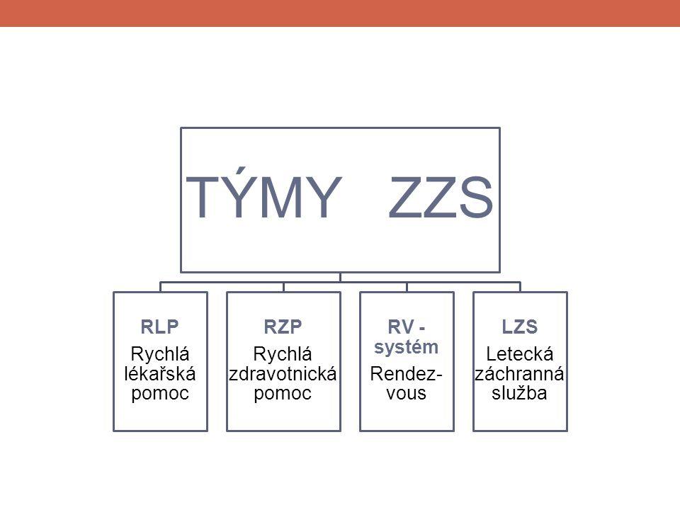 TÝMY ZZS RLP Rychlá lékařská pomoc RZP Rychlá zdravotnická pomoc RV - systém Rendez- vous LZS Letecká záchranná služba