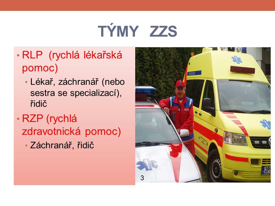 TÝMY ZZS RLP (rychlá lékařská pomoc) Lékař, záchranář (nebo sestra se specializací), řidič RZP (rychlá zdravotnická pomoc) Záchranář, řidič 3