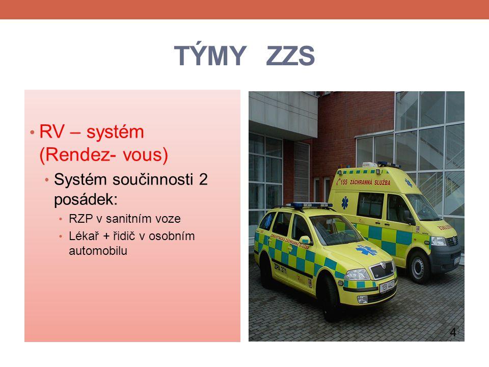 TÝMY ZZS RV – systém (Rendez- vous) Systém součinnosti 2 posádek: RZP v sanitním voze Lékař + řidič v osobním automobilu 4