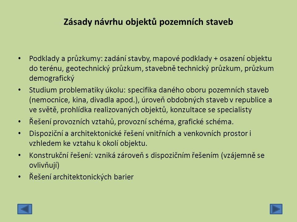 Zásady návrhu objektů pozemních staveb Podklady a průzkumy: zadání stavby, mapové podklady + osazení objektu do terénu, geotechnický průzkum, stavebně