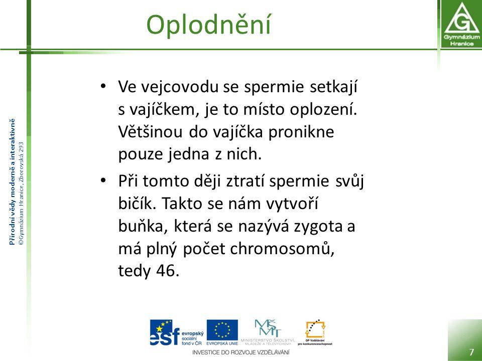 Přírodní vědy moderně a interaktivně ©Gymnázium Hranice, Zborovská 293 Oplodnění Ve vejcovodu se spermie setkají s vajíčkem, je to místo oplození. Vět