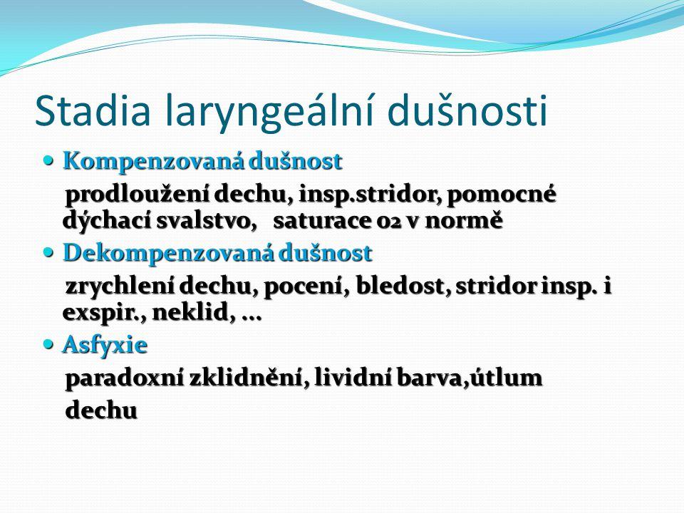 Stadia laryngeální dušnosti Kompenzovaná dušnost Kompenzovaná dušnost prodloužení dechu, insp.stridor, pomocné dýchací svalstvo, saturace 0 2 v normě