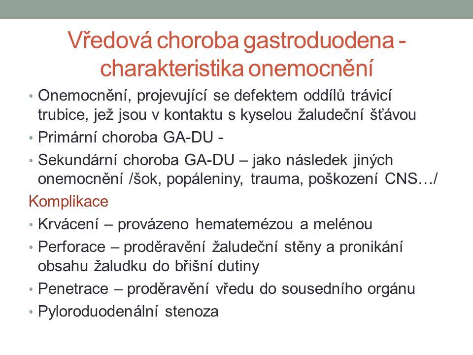 Vředová choroba gastroduodena - charakteristika onemocnění Onemocnění, projevující se defektem oddílů trávicí trubice, jež jsou v kontaktu s kyselou ž