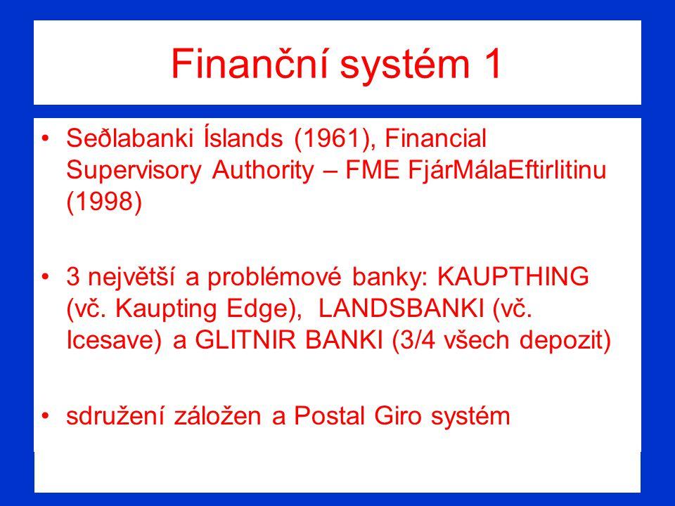 Finanční systém 1 Seðlabanki Íslands (1961), Financial Supervisory Authority – FME FjárMálaEftirlitinu (1998) 3 největší a problémové banky: KAUPTHING