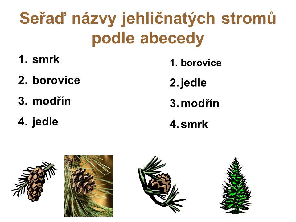 Seřaď názvy jehličnatých stromů podle abecedy 1. smrk 2. borovice 3. modřín 4. jedle 1.borovice 2.jedle 3.modřín 4.smrk