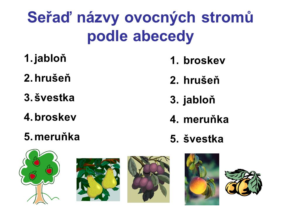 Seřaď názvy ovocných stromů podle abecedy 1.jabloň 2.hrušeň 3.švestka 4.broskev 5.meruňka 1. broskev 2. hrušeň 3. jabloň 4. meruňka 5. švestka
