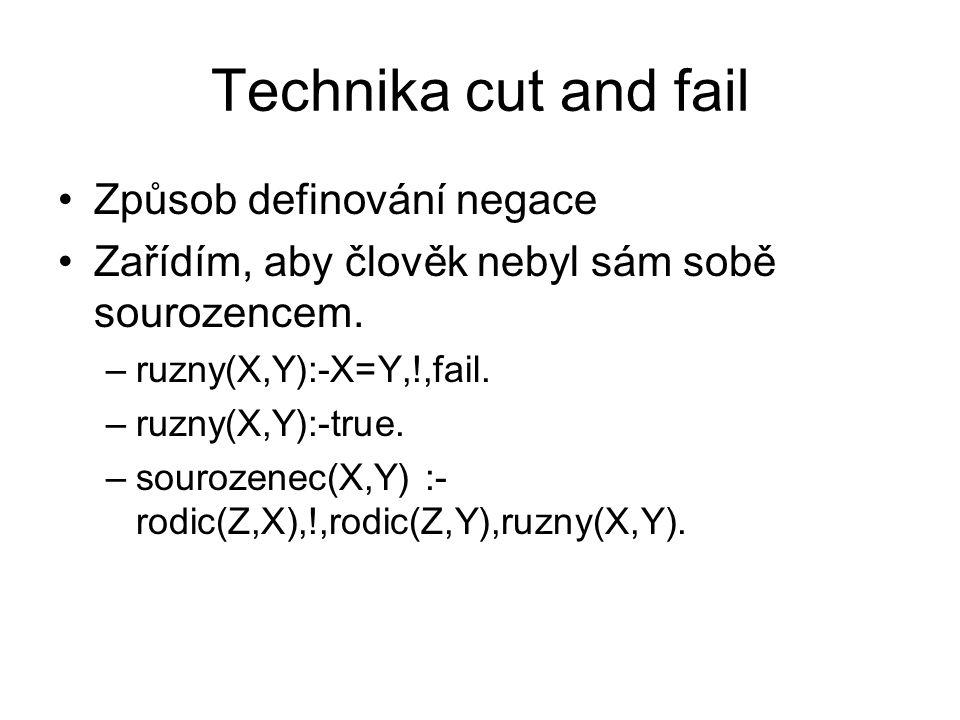 Technika cut and fail Způsob definování negace Zařídím, aby člověk nebyl sám sobě sourozencem. –ruzny(X,Y):-X=Y,!,fail. –ruzny(X,Y):-true. –sourozenec