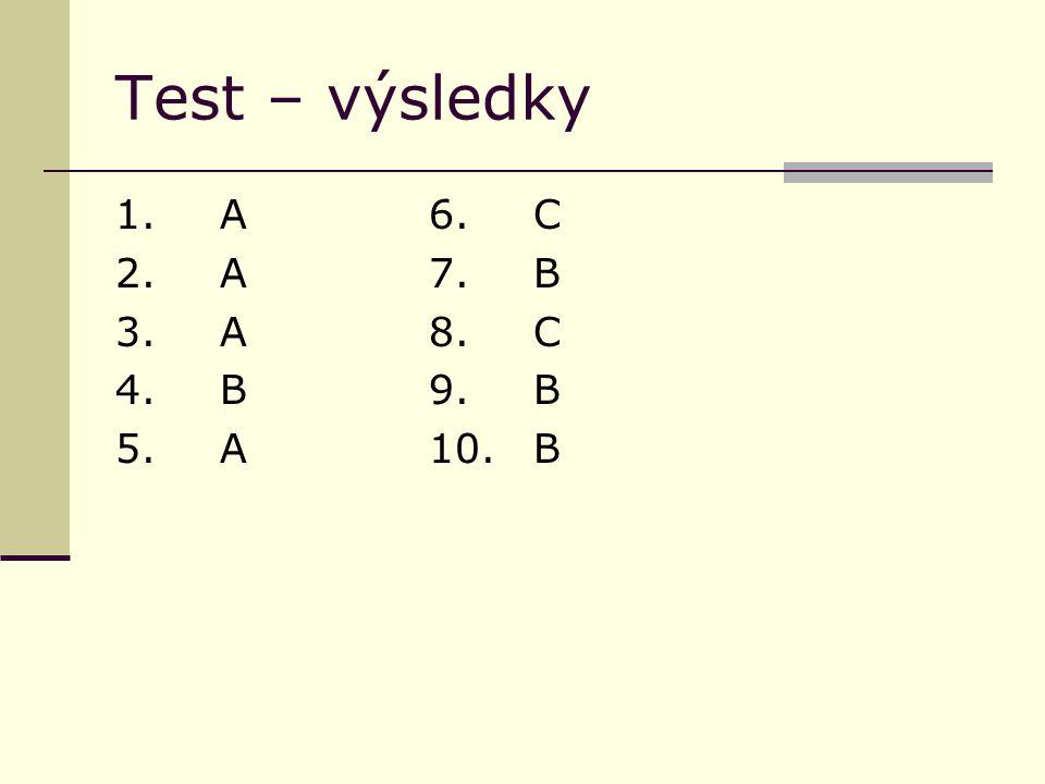 Test – výsledky 1.A6.C 2. A7.B 3. A8.C 4. B9.B 5.A10.B
