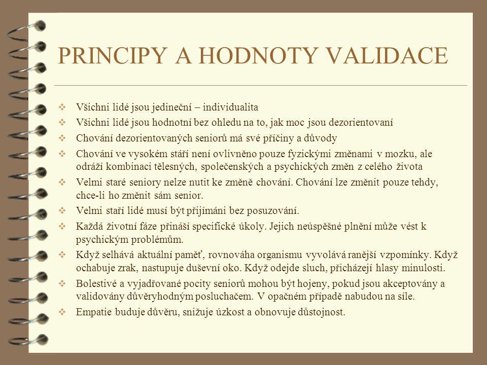 PRINCIPY A HODNOTY VALIDACE  Všichni lidé jsou jedineční – individualita  Všichni lidé jsou hodnotní bez ohledu na to, jak moc jsou dezorientovaní 