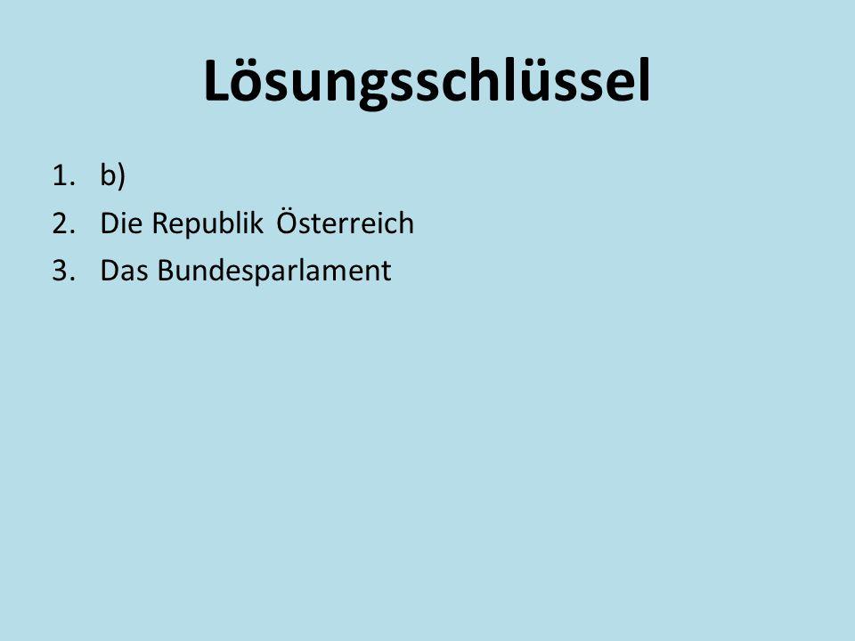 Lösungsschlüssel 1.b) 2.Die Republik Österreich 3.Das Bundesparlament
