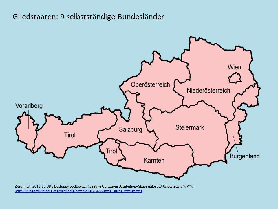 Gliedstaaten: 9 selbstständige Bundesländer Zdroj: [cit. 2013-12-09]. Dostupný pod licencí Creative Commons Attribution–Share Alike 3.0 Unported na WW