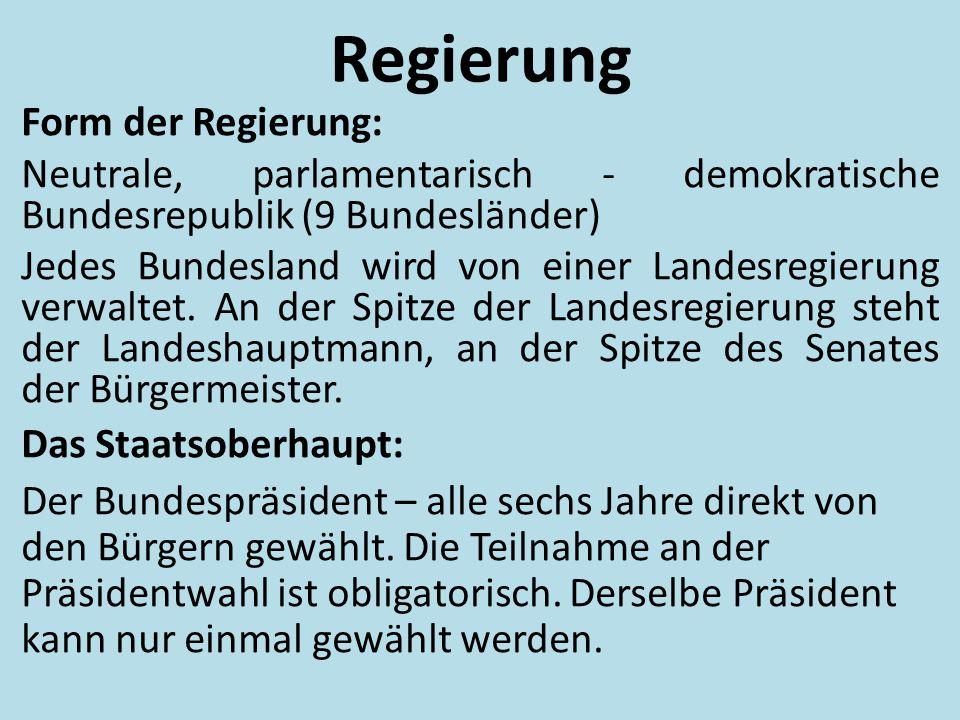 Regierung Form der Regierung: Neutrale, parlamentarisch - demokratische Bundesrepublik (9 Bundesländer) Jedes Bundesland wird von einer Landesregierun