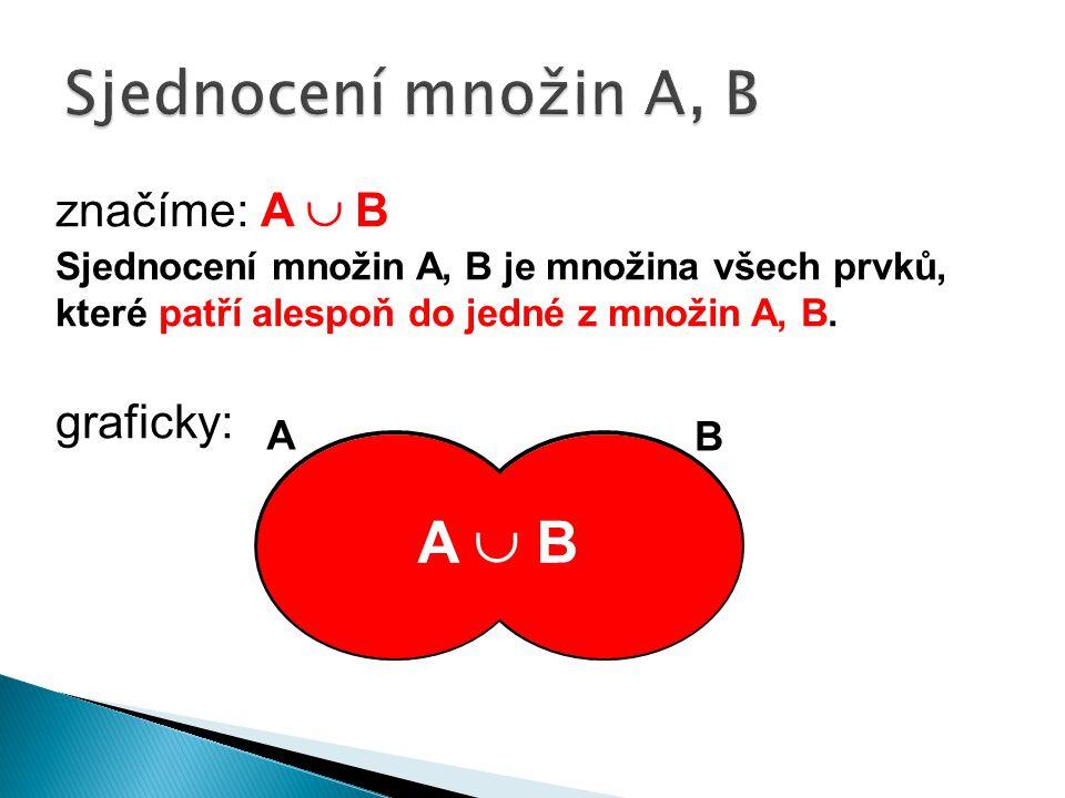 značíme: A  B Sjednocení množin A, B je množina všech prvků, které patří alespoň do jedné z množin A, B.