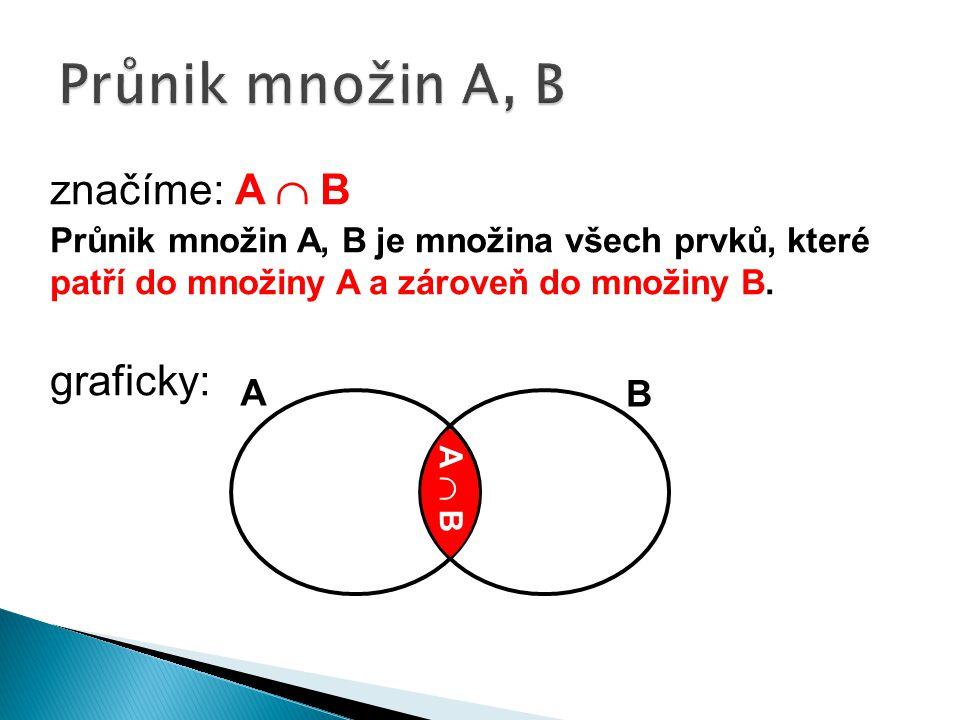 značíme: A  B Průnik množin A, B je množina všech prvků, které patří do množiny A a zároveň do množiny B.
