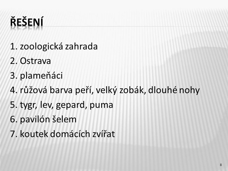 8 1. zoologická zahrada 2. Ostrava 3. plameňáci 4.