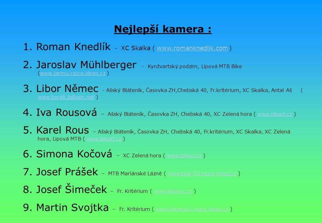 Nejlepší kamera : 1. Roman Knedlík – XC Skalka ( www.romanknedlik.com )www.romanknedlik.com 2. Jaroslav Mühlberger - Kynžvartský podzim, Lipová MTB Bi