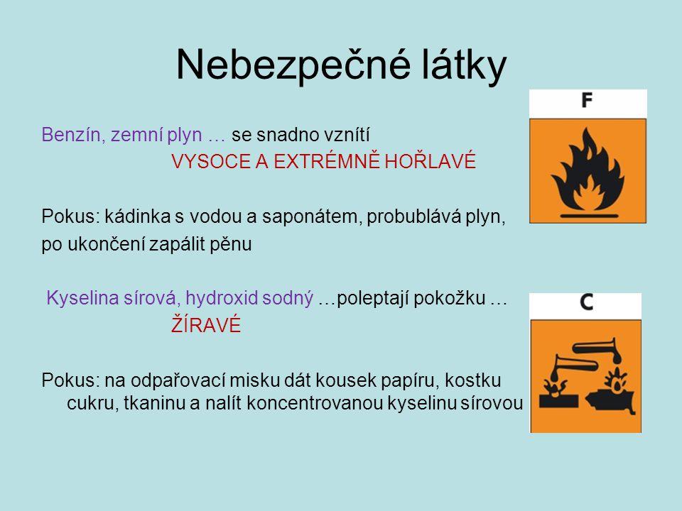 Nebezpečné látky Benzín, zemní plyn … se snadno vznítí VYSOCE A EXTRÉMNĚ HOŘLAVÉ Pokus: kádinka s vodou a saponátem, probublává plyn, po ukončení zapá