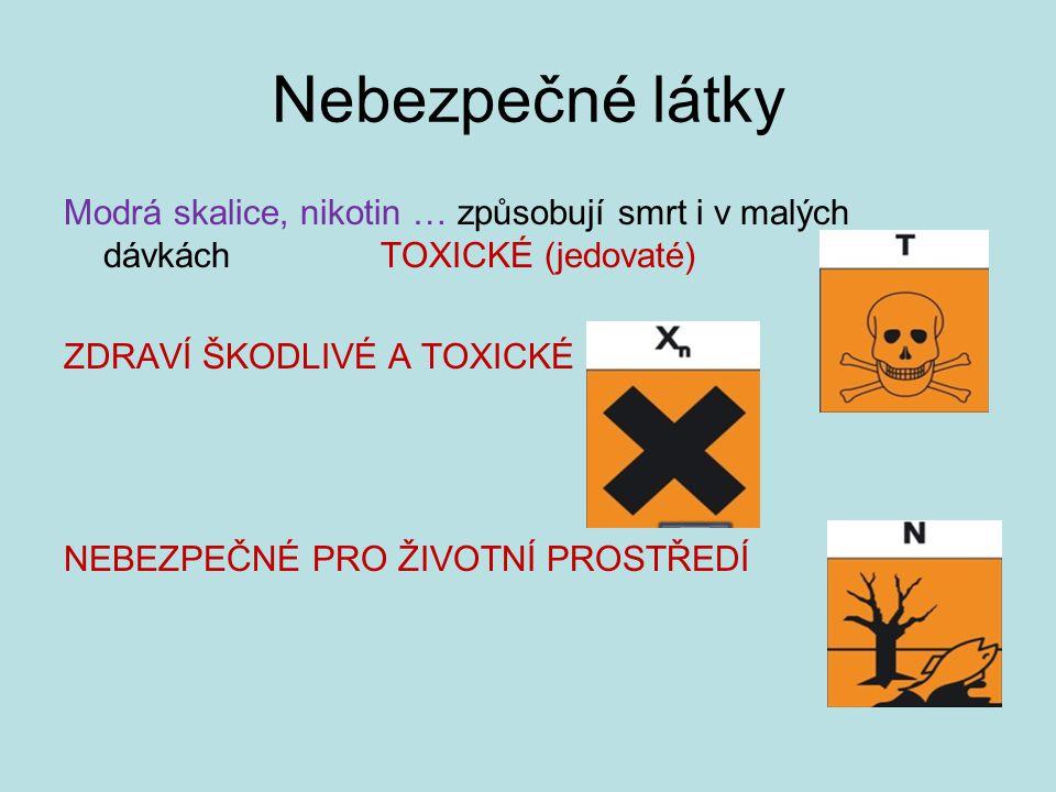 Nebezpečné látky Modrá skalice, nikotin … způsobují smrt i v malých dávkách TOXICKÉ (jedovaté) ZDRAVÍ ŠKODLIVÉ A TOXICKÉ NEBEZPEČNÉ PRO ŽIVOTNÍ PROSTŘ