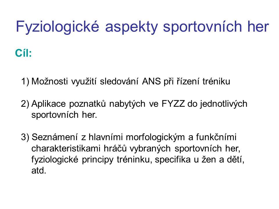Fyziologické aspekty sportovních her Cíl: 1)Možnosti využití sledování ANS při řízení tréniku 2) Aplikace poznatků nabytých ve FYZZ do jednotlivých sportovních her.