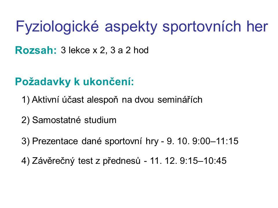 Prezentace: Fyziologické aspekty sportovních her 1) PP – 10 minut + 5 minut diskuse 4) Aktivní účast všech členů skupinky na výstupu!!.