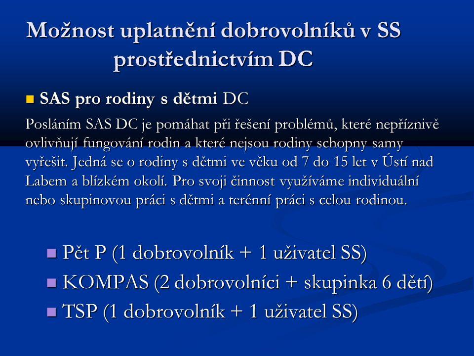 Možnost uplatnění dobrovolníků v SS prostřednictvím DC SAS pro rodiny s dětmi DC SAS pro rodiny s dětmi DC Posláním SAS DC je pomáhat při řešení problémů, které nepříznivě ovlivňují fungování rodin a které nejsou rodiny schopny samy vyřešit.