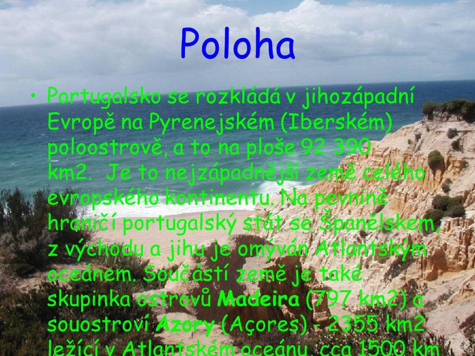 Poloha Portugalsko se rozkládá v jihozápadní Evropě na Pyrenejském (Iberském) poloostrově, a to na ploše 92 390 km2. Je to nejzápadnější země celého e