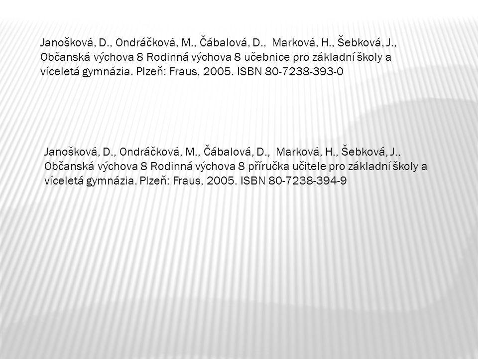 Janošková, D., Ondráčková, M., Čábalová, D., Marková, H., Šebková, J., Občanská výchova 8 Rodinná výchova 8 učebnice pro základní školy a víceletá gym