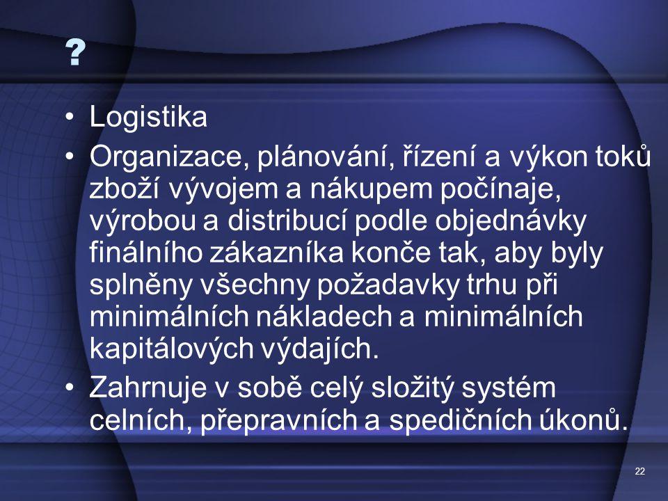 22 ? Logistika Organizace, plánování, řízení a výkon toků zboží vývojem a nákupem počínaje, výrobou a distribucí podle objednávky finálního zákazníka