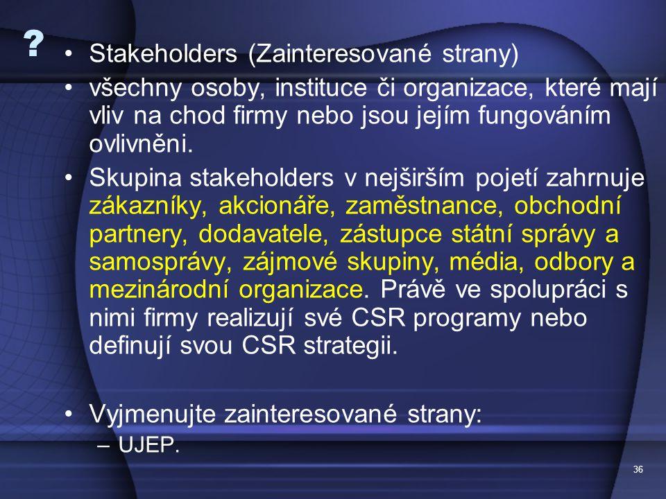 36 ? Stakeholders (Zainteresované strany) všechny osoby, instituce či organizace, které mají vliv na chod firmy nebo jsou jejím fungováním ovlivněni.