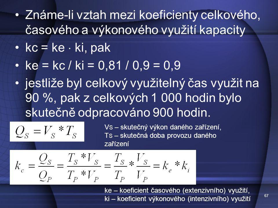 67 Známe-li vztah mezi koeficienty celkového, časového a výkonového využití kapacity kc = ke  ki, pak ke = kc / ki = 0,81 / 0,9 = 0,9 jestliže byl ce