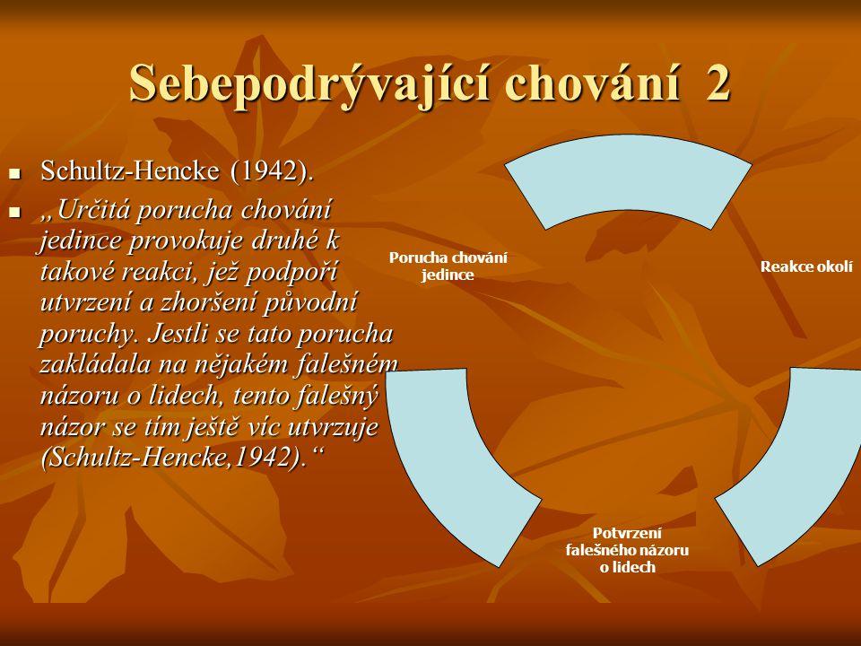 Sebepodrývající chování 2 Schultz-Hencke (1942). Schultz-Hencke (1942).