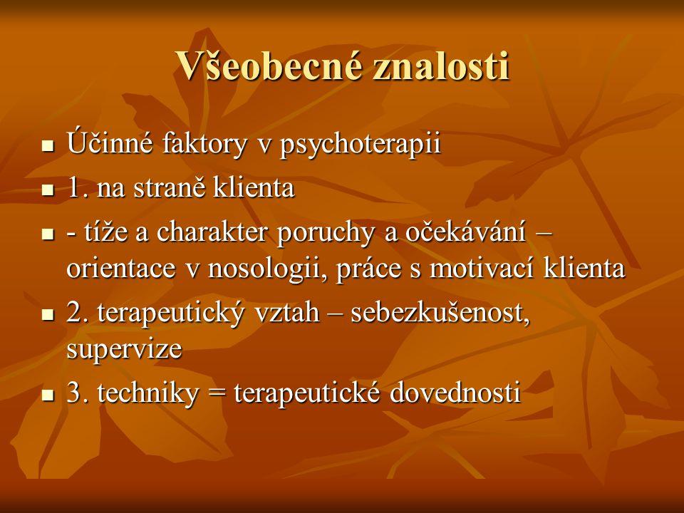 Všeobecné znalosti Účinné faktory v psychoterapii Účinné faktory v psychoterapii 1.