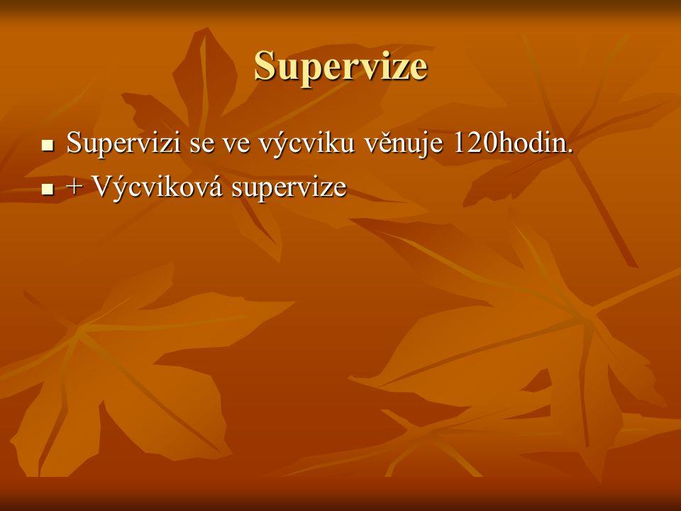 Supervize Supervizi se ve výcviku věnuje 120hodin.