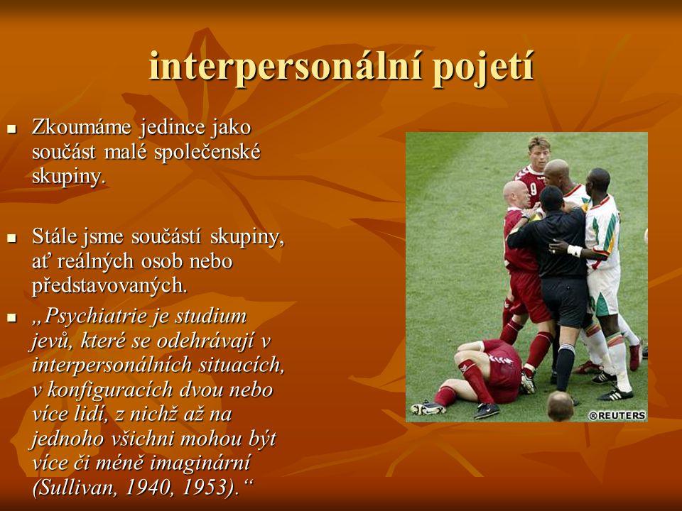 interpersonální pojetí Zkoumáme jedince jako součást malé společenské skupiny.