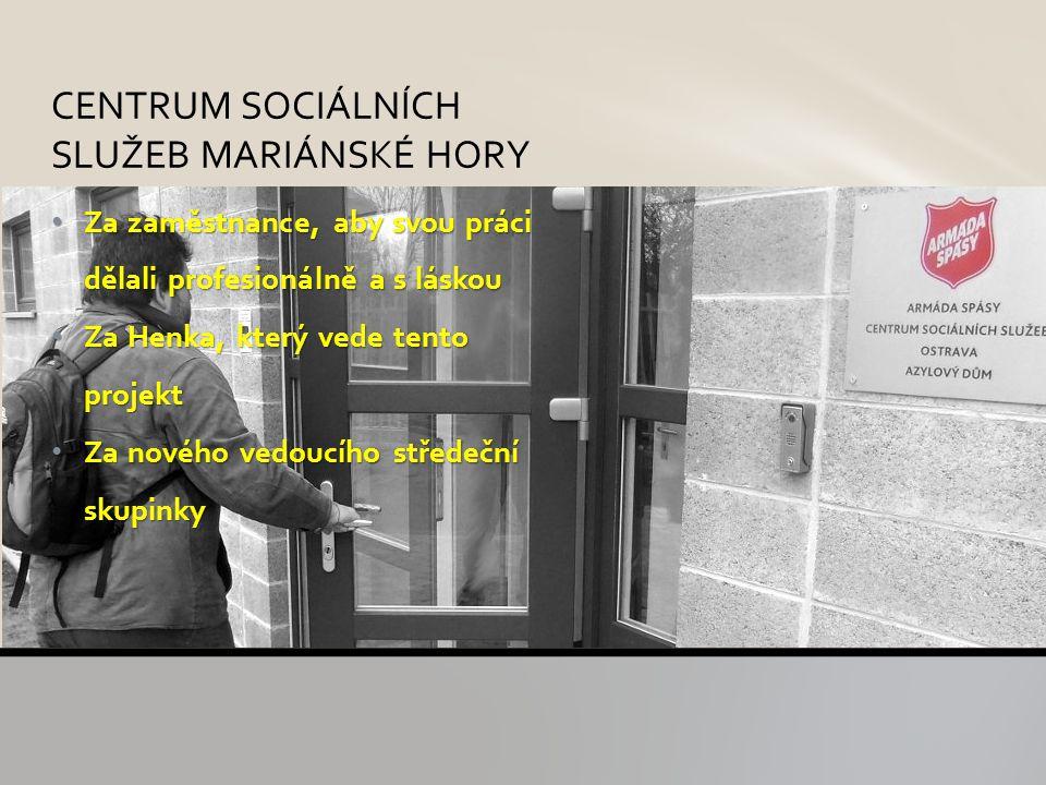 Za zaměstnance, aby svou práci dělali profesionálně a s láskou Za zaměstnance, aby svou práci dělali profesionálně a s láskou Za Henka, který vede tento projekt Za Henka, který vede tento projekt Za nového vedoucího středeční skupinky Za nového vedoucího středeční skupinky CENTRUM SOCIÁLNÍCH SLUŽEB MARIÁNSKÉ HORY