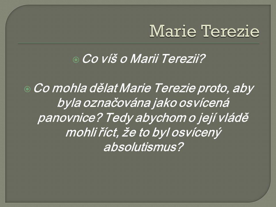  Co víš o Marii Terezii?  Co mohla dělat Marie Terezie proto, aby byla označována jako osvícená panovnice? Tedy abychom o její vládě mohli říct, že