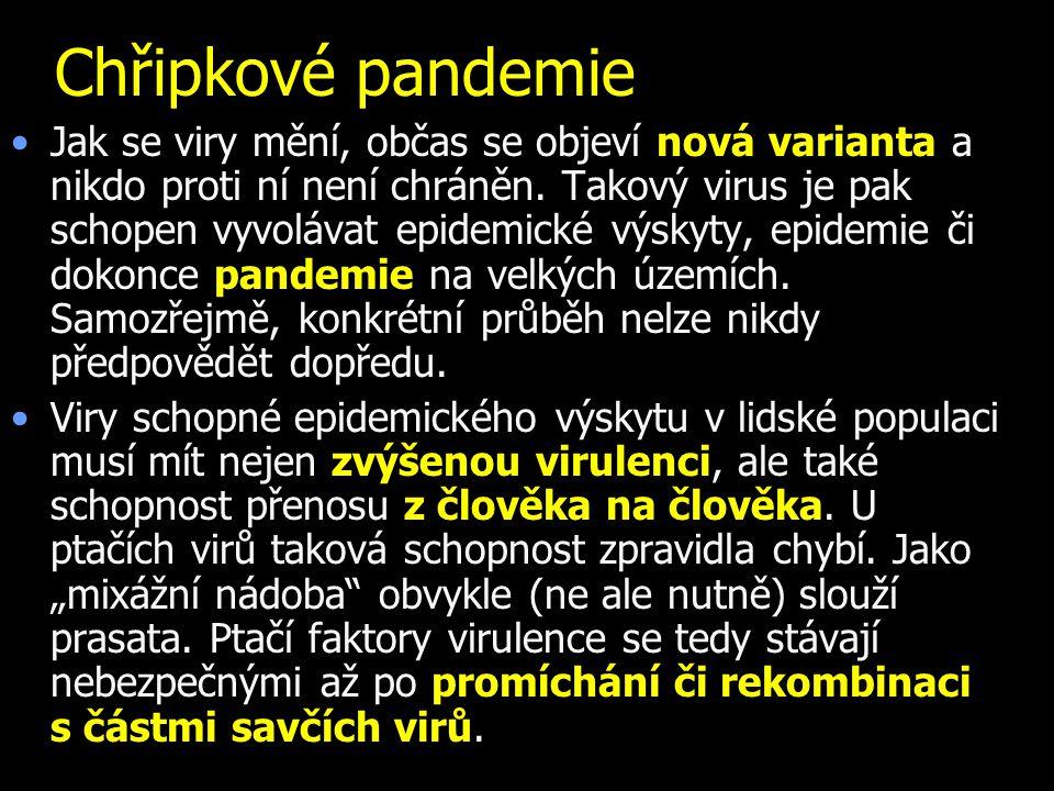 Chřipkové pandemie Jak se viry mění, občas se objeví nová varianta a nikdo proti ní není chráněn.
